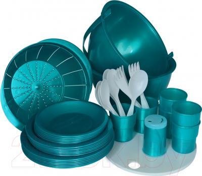 Набор пластиковой посуды Белпласт Пикник с215-2830 (бирюзовый)