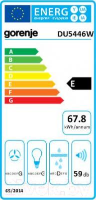 Вытяжка плоская Gorenje DU5446W - энергетическая наклейка