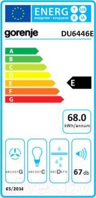 Вытяжка плоская Gorenje DU6446E - энергетическая наклейка