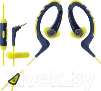 Наушники-гарнитура Audio-Technica ATH-SPORT1iS (желто-синий)