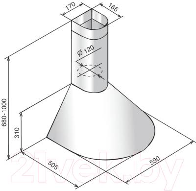 Вытяжка купольная Elikor Эпсилон 60П-430-П3Л (ваниль/золото)
