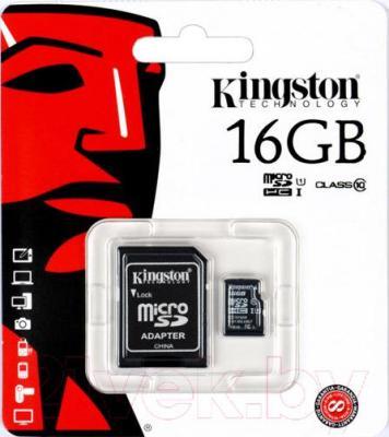 Карта памяти Kingston microSDHC UHS-I (Class 10) 16GB + адаптер (SDC10G2/16GB)