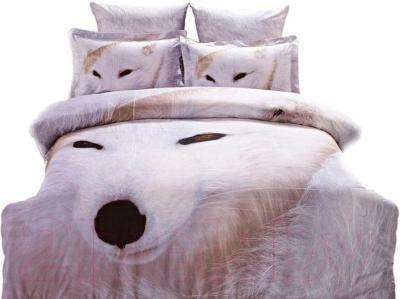 Комплект постельного белья Arya Сатин Печатное 3D White Wolf / PB200X220Whi (200x220)
