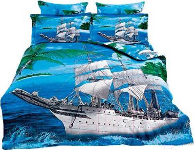 Комплект постельного белья Arya Сатин Печатное 3D Ocean Ships / PB200X220Oce (200x220)