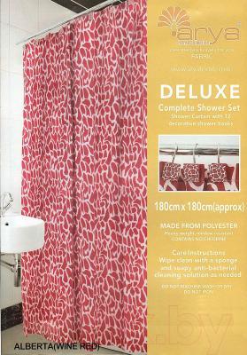 Текстильная шторка для ванной Arya Alberta Red / SDV180AlR (180x180)