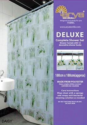 Текстильная шторка для ванной Arya Daisy / SDV180Dai (180x180)