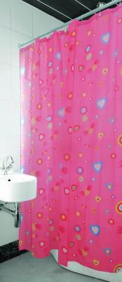Текстильная шторка для ванной Arya Pink Love / SDV180PinL (180x180)