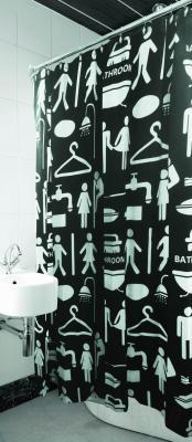 Текстильная шторка для ванной Arya Women Men Black / SDV180WMeB (180x180)