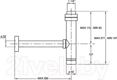Сифон для умывальника Bonomini 0590OT25K7 - технический чертеж