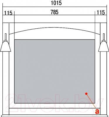 Зеркало для ванной Акватон Жерона 105 (1A158802GEM20) - технический чертеж