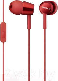 Наушники-гарнитура Sony MDR-EX150AP (красный)
