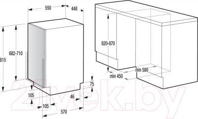 Посудомоечная машина Gorenje GV51212 - схема встраивания