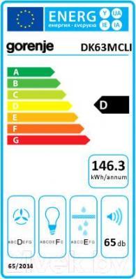Вытяжка купольная Gorenje DK63MCLI - энергетическая наклейка