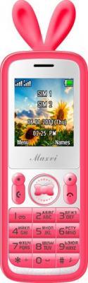 Мобильный телефон Maxvi J1 (розовый) - общий вид в чехле