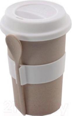 Кружка с ложкой BergHOFF 2800056 (бежевый) - общий вид