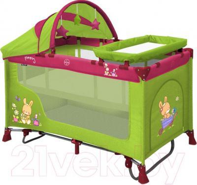 Кровать-манеж Lorelli Nanny 2 Rocker + (Green Pink Bunnies)