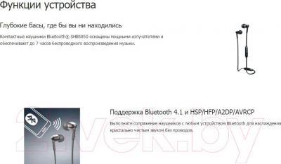 Наушники-гарнитура Philips SHB5850BK/51