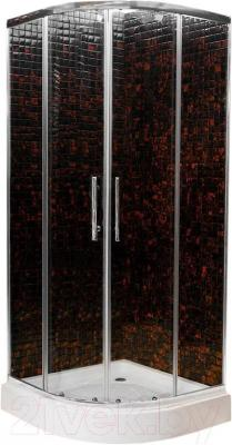Душевой уголок Ventospa Standart A-LA 90x90 Clear Glass (матовое стекло) - профиль белого цвета, стекло - матовое
