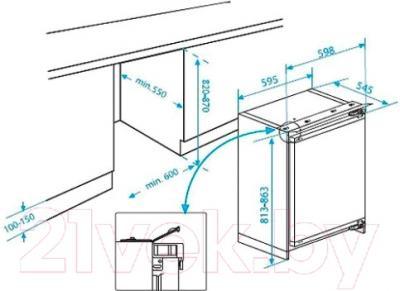 Морозильник Beko BU1200HCA - схема встраивания