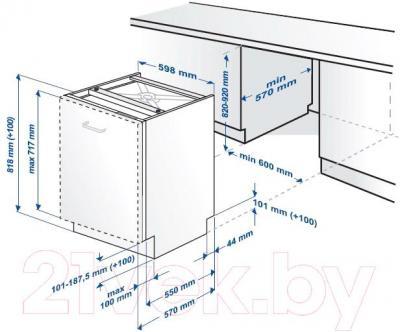 Посудомоечная машина Beko DIN4530 - схема встраивания