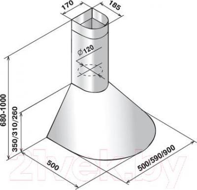Вытяжка купольная Elikor Эпсилон 50П-430-П3Л (белый/золото)