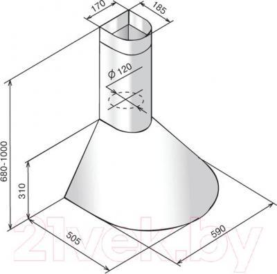 Вытяжка купольная Elikor Эпсилон 60П-430-П3Л (молоко/золото)