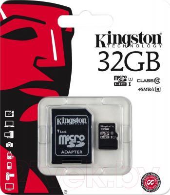 Карта памяти Kingston microSDHC UHS-I (Class 10) 32GB + адаптер (SDC10G2/32GB) - SD-адаптер