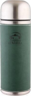 Термос для напитков Арктика 108-700 (в кожаной оплетке, зеленый)