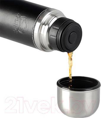 Термос для напитков Арктика 108-700 (в кожаной оплетке, черный) - крышка-стакан