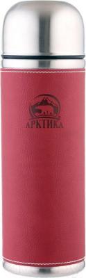 Термос для напитков Арктика 108-700 (в кожаной оплетке, красный)