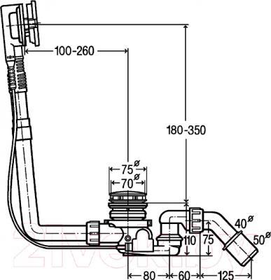 Сифон для ванны Viega Multiplex Trio F 687557 - технический чертеж