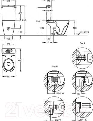 Унитаз напольный Keramag iCon Rimfree 200460-000 - технический чертеж