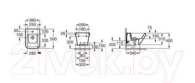 Биде напольное Roca Dama-N A357787000 - технический чертеж