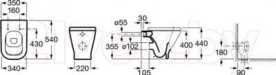 Унитаз приставной Roca The Gap (A347477000) - технический чертеж