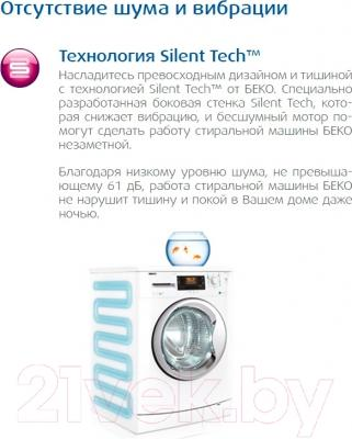 Стиральная машина Beko RKB68021PTY - технология Silent Tech
