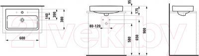 Умывальник Laufen Pro 60 (8129530001091) - схема