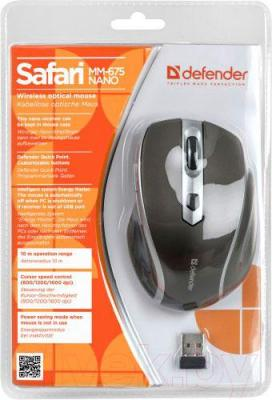 Мышь Defender Safari MM-675 Nano (коричневый) - упаковка