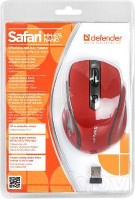 Мышь Defender Safari MM-675 Nano (красный) - упаковка