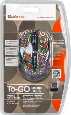 Мышь Defender To-GO MS-585 Nano Fiesta (52589) - упаковка