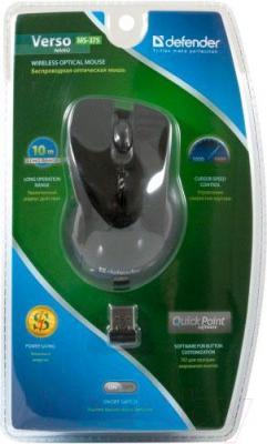 Мышь Defender Verso MS-375 Nano (черный) - упаковка