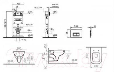 Унитаз с инсталляцией VitrA Form 300 (9812B003-7203)