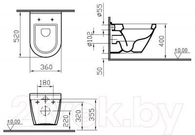 Унитаз с инсталляцией VitrA S50 (9003B003-7200) - технический чертеж