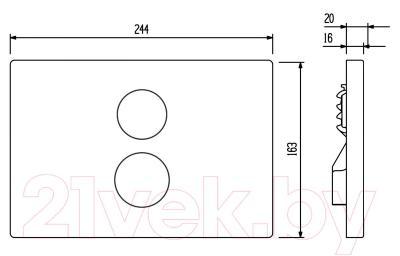 Унитаз подвесной с инсталляцией VitrA S50 (9003B003-7200) - габариты кнопки