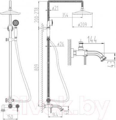 Душевая система ZorG Antic AZR 700 DS-6-12 BR - схема