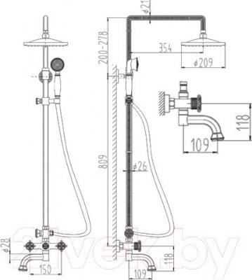 Душевая система ZorG Antic AZR 608 DS-1-12 BR
