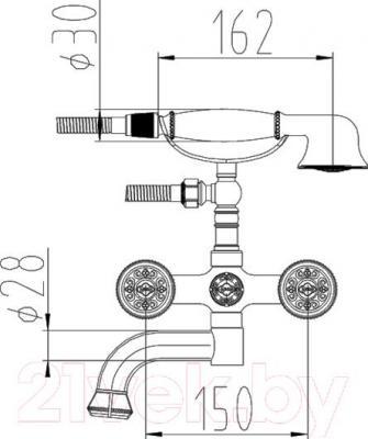 Смеситель ZorG Antic AZR 608 W-2-12 BR