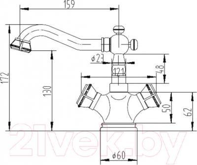 Смеситель ZorG Antic AZR 608 U-2-6 BR