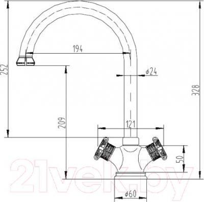 Смеситель ZorG Antic AZR 608 K-1-12 BR