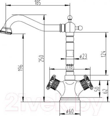 Смеситель ZorG Antic AZR 608 K-1-6 BR