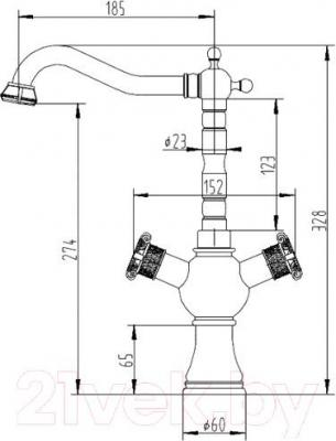 Смеситель ZorG Antic AZR 609 K-1-6 BR